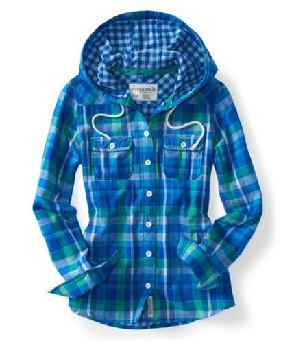 Aeropostale Womens Plaid Hoodie Button Up Shirt 793 XS