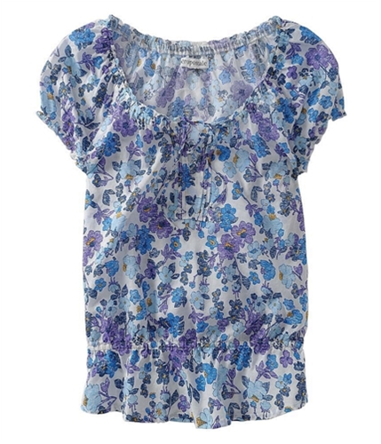 Aeropostale Womens Small Floral Print Laced Pullover Blouse floral S