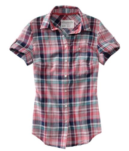 Aeropostale Womens Plaid 3/4 Sleeve Button Up Shirt applebred S