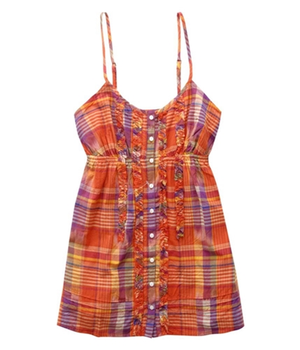 Aeropostale Womens Ruffle Henley Blouse orange S