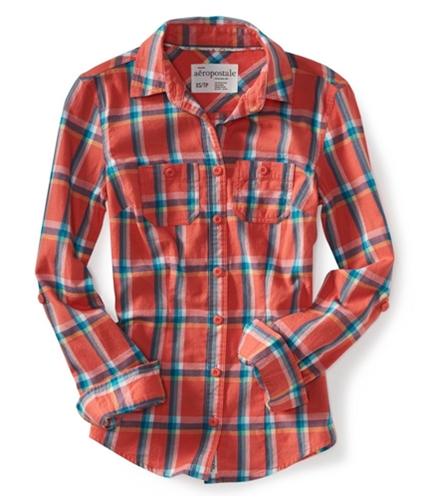 Aeropostale Womens Long Sleeve Plaid Woven Button Up Shirt coral XL