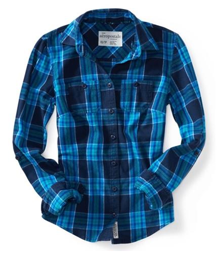 Aeropostale Womens Long Sleeve Plaid Woven Button Up Shirt sky XL