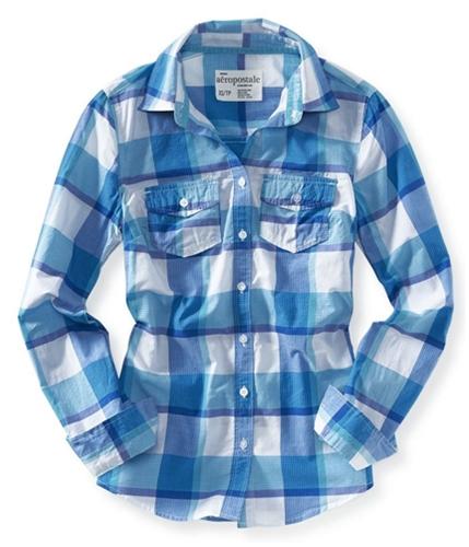 Aeropostale Womens Long Sleeve Plaid Button Up Shirt 121 L
