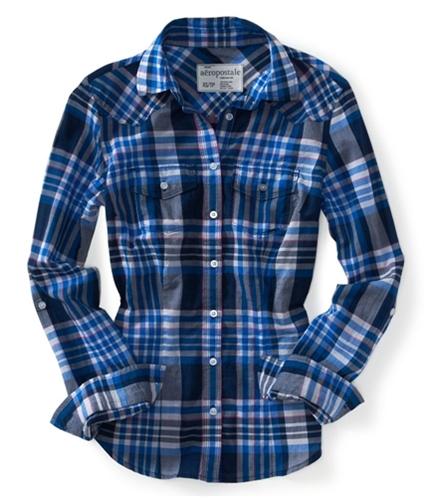 Aeropostale Womens Plaid Lightweight Button Up Shirt 474 S