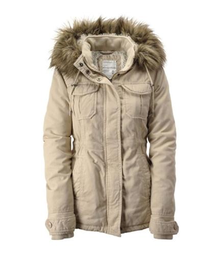 Aeropostale Womens Fur Lined Hooded Parka Coat parchmecream XS