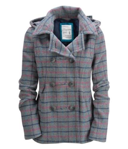Aeropostale Womens Detatchable Hood Pea Coat mediumgray XS