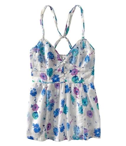 Aeropostale Womens Floral Elastic Back Baby Doll Blouse bleachwhite S