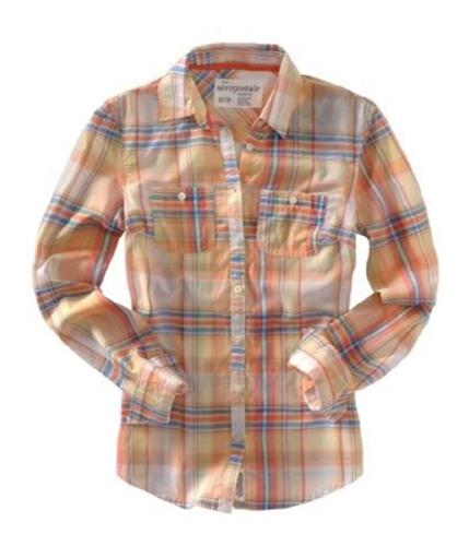 Aeropostale Womens Plaid Button Up Shirt lemonyellow XS
