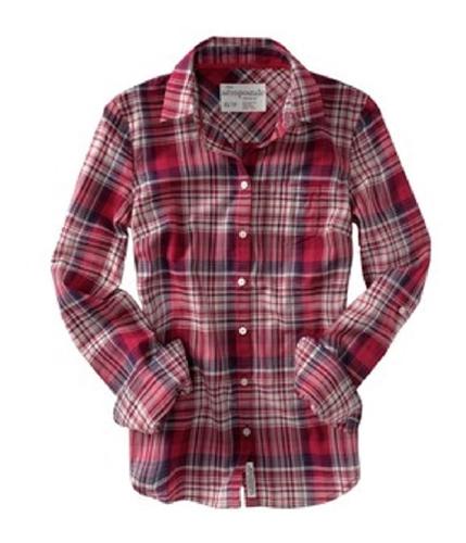 Aeropostale Womens Plaid Button Up Shirt mediumpink S