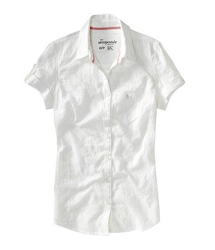 Aeropostale Womens Floral Lace Pattern Collared Button Up Shirt bleach S