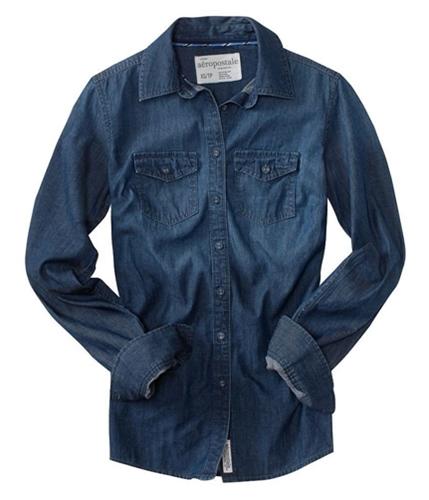 Aeropostale Womens Front Pocket Pullover Blouse myrtleblue XS