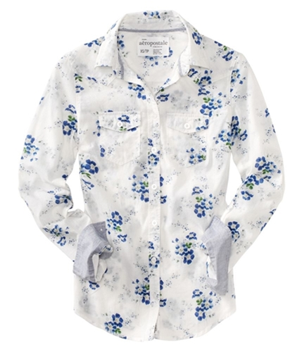 Aeropostale Womens Long Sleeve Floral Print Button Up Shirt floralblue S