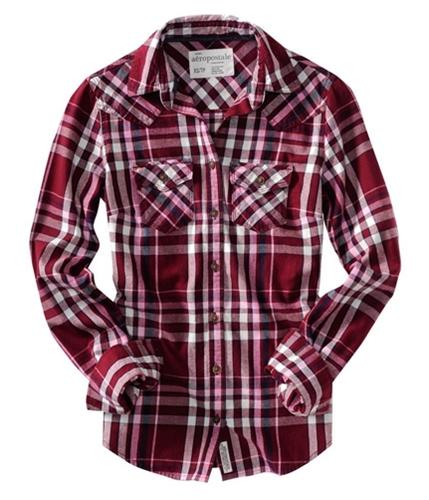 Aeropostale Womens Flannel Long Sleeve Button Up Shirt auburn XS