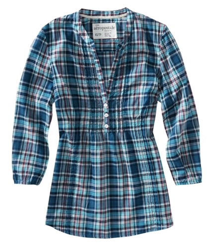 Aeropostale Womens 3/4 Sleeve Buttoned Gingham Henley Blouse fogblue XS