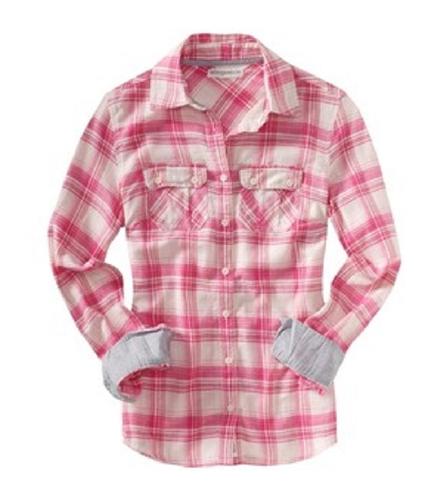 Aeropostale Womens Long Sleeve Plaid Button Up Shirt pearlpink XS