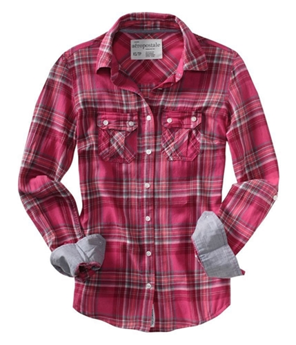 Aeropostale Womens Flannel Long Sleeve Pullover Blouse petunia XL