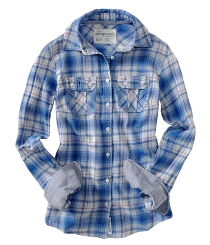 Aeropostale Womens Long Sleeve Plaid Button Up Shirt astorblue XS