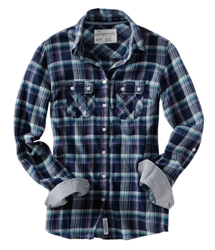 Aeropostale Womens Plaid Pocket Button Up Shirt navyniblue S