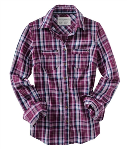 Aeropostale Womens Flannel Long Sleeve Button Up Shirt electric S