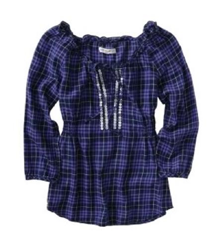Aeropostale Womens Plaid Sequenced Pullover Blouse navynightblueandpurple M