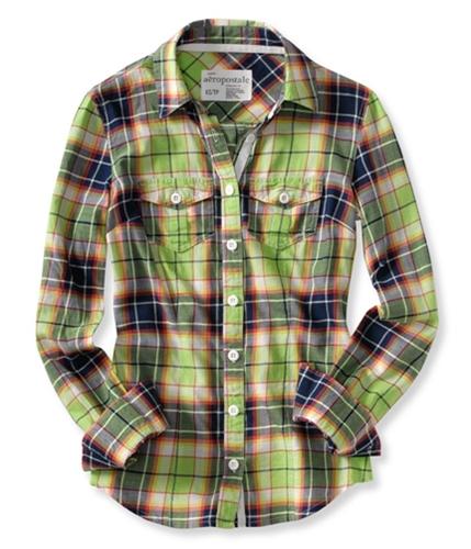 Aeropostale Womens Plaid Long Sleeve Button Up Shirt limegreen S