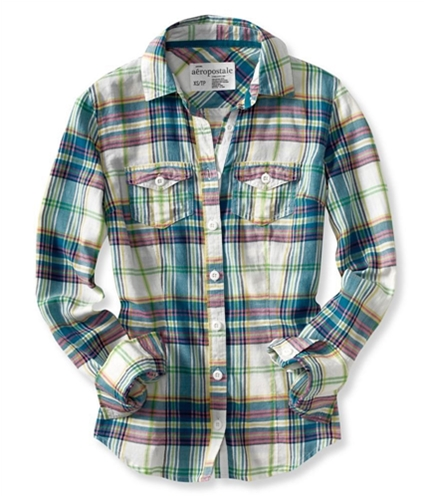 Aeropostale Womens Plaid Front Pockets Button Up Shirt floralgreen S