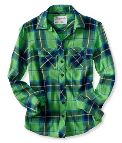 Aeropostale Womens Long Sleeve Plaid Woven Button Up Shirt limeade XL