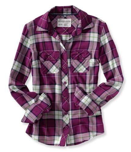 Aeropostale Womens Plaid Long Sleeve Button Up Shirt ltpink XS