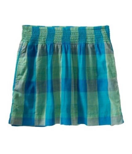 Aeropostale Womens Plaid Pleated Skirt tealli XS