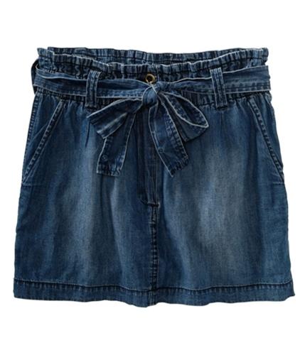 Aeropostale Womens Belted Mini Skirt chambrablue XS