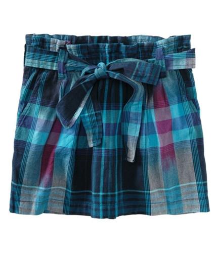 Aeropostale Womens Plaid Belted Pleated Skirt bluedu XS