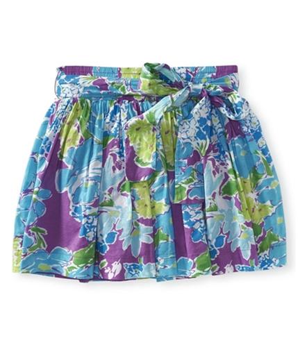 Aeropostale Womens Floral Belted Mini Skirt plumda M