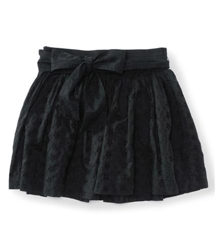 Aeropostale Womens Belted Eyelet Mini Skirt black XS