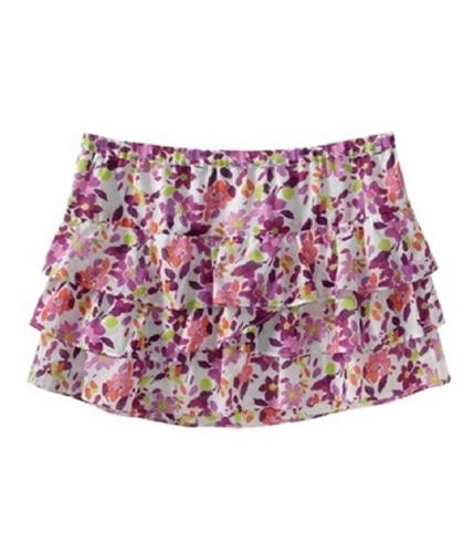 Aeropostale Womens Ruffled Floral Mini Skirt bleachwhite S