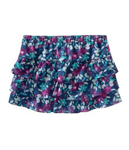 Aeropostale Womens Floral Print Layered Pleated Mini Skirt navyblue XS