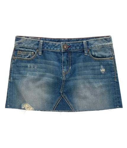 Aeropostale Womens Distressed Cut Off Mini Skirt mottblue 00