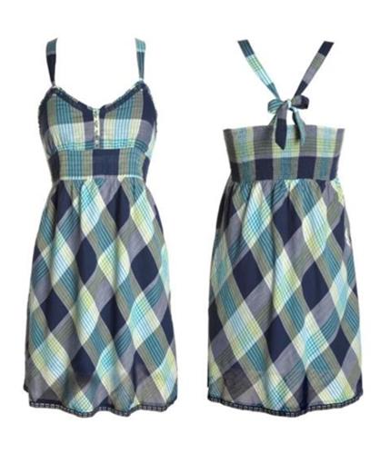 Aeropostale Womens Lined Plaid Summer Sundress navyniblue XL