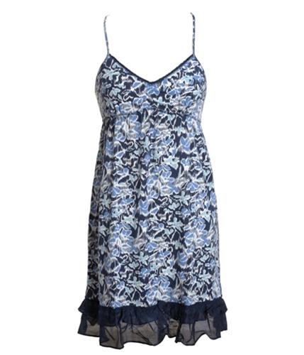 Aeropostale Womens Ruffled Floral Print Knit Sundress navyblue S