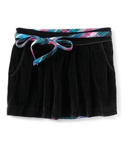 Aeropostale Womens Velour Removable Belt Mini Skirt black M