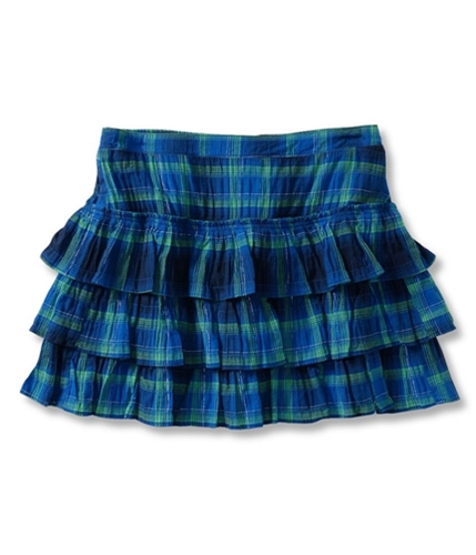 Aeropostale Womens Plaid Tiered Mini Skirt navyniblue XL