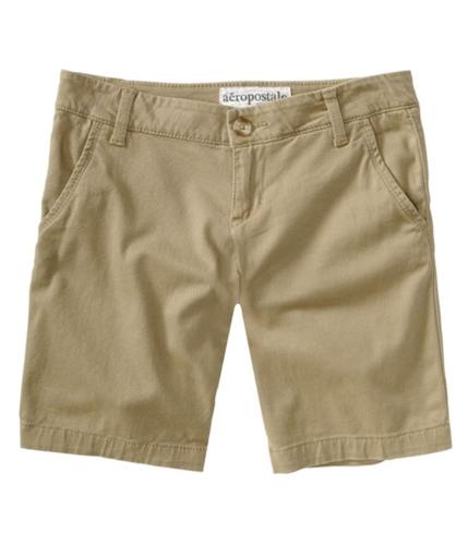 Aeropostale Womens Flat Front Casual Bermuda Shorts darksttan 00