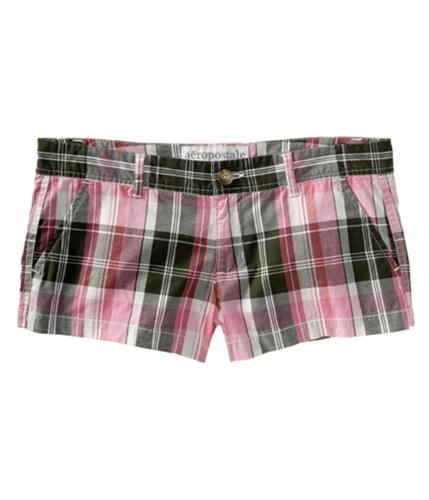 Aeropostale Womens Plaid Khaki Casual Chino Shorts greenmedium 00