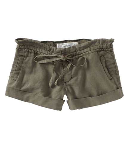 Aeropostale Womens Linen Blend Casual Chino Shorts bayleafgreen 00