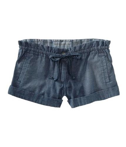 Aeropostale Womens Denim Drawstring Waist Casual Mini Shorts chambrablue 7/8