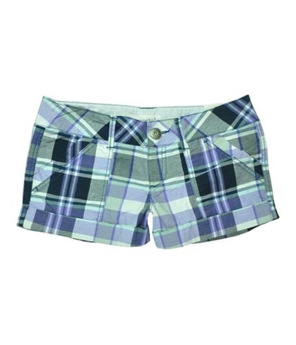 Aeropostale Womens Plaid Cotton Casual Chino Shorts periwinpurple 7/8