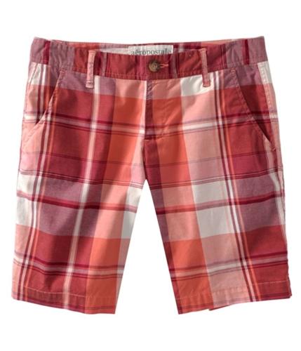 Aeropostale Womens Plaid Stripe Casual Bermuda Shorts darkcoorange 3/4