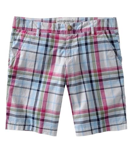 Aeropostale Womens Plaid Casual Bermuda Shorts bleachwhite 7/8
