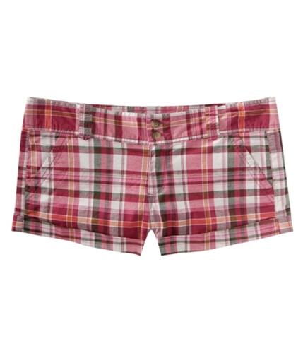 Aeropostale Womens Plaid Casual Chino Shorts pinkme 00