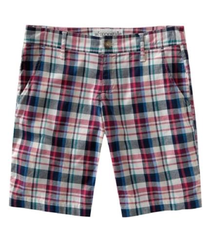 Aeropostale Womens Plaid Slant Pocket Casual Bermuda Shorts navyblue 00