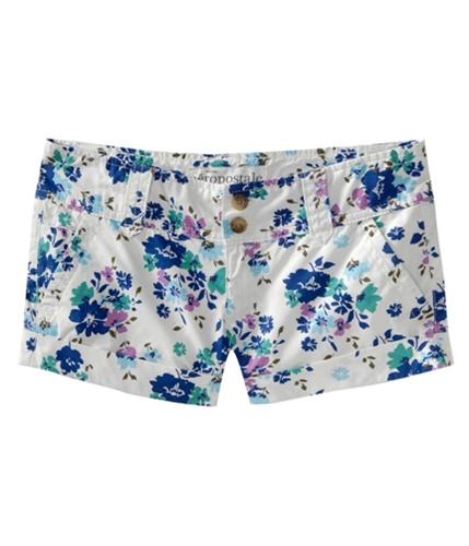 Aeropostale Womens Floral Print Khaki Casual Chino Shorts floraoffwhite 00